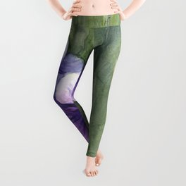 Purple Pansies Watercolor Flowers Painting Violet Floral Art Leggings