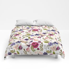 Violet pink yellow green watercolor modern floral pattern Comforters