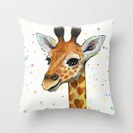 Baby-Giraffe-Nursery-Print-Watercolor-Animal-Portrait-Hearts Throw Pillow
