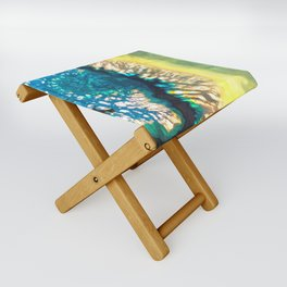 Blue and Yellow Agate Folding Stool