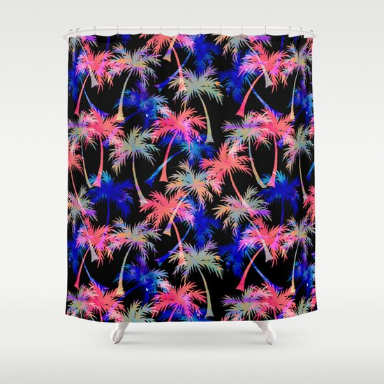 Falling Palms - Nightlight Shower Curtain