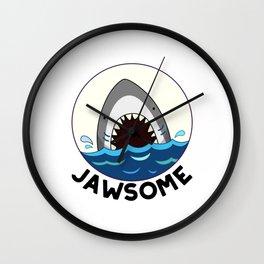 Jawsome Cute Toothy Shark Pun Wall Clock