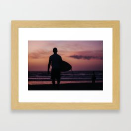 Surfing at Dawn in Cocoa FL USA Framed Art Print