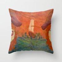 pirates Throw Pillows featuring Pirates  by CataBeja Umaña Azul