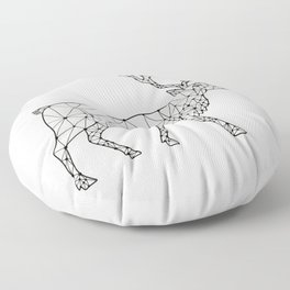 Caribou Side Nodes Black and White Floor Pillow
