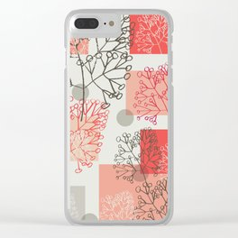 Branches grey graphic retro Clear iPhone Case
