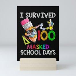 I Survived 100 Masked School Days Face Mask Dabbing Crayon Mini Art Print