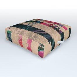 Pink burgundy black gold watercolor geometrical Outdoor Floor Cushion