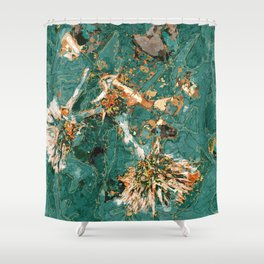 Macelas - Small flowers digitally stylized green marble Shower Curtain