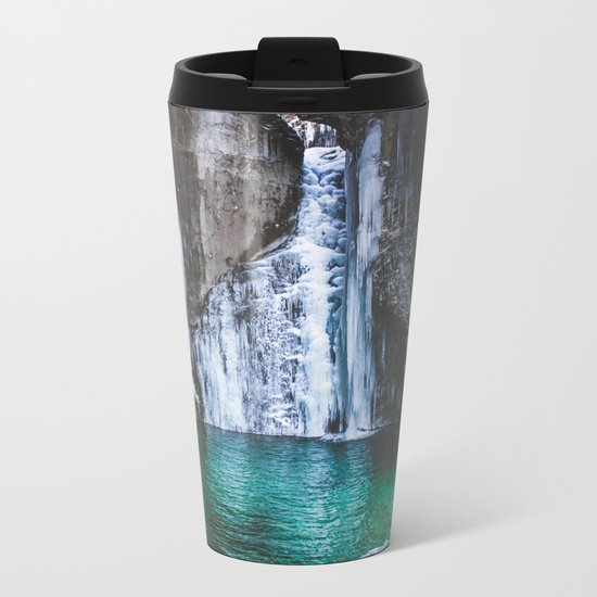 Frozen waterfall Metal Travel Mug