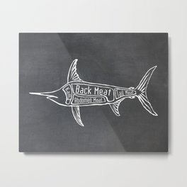 Swordfish Butcher Diagram (Nautical Meat Chart) Metal Print