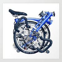 brompton Art Prints featuring Brompton Folded blue painting by Diana Powell