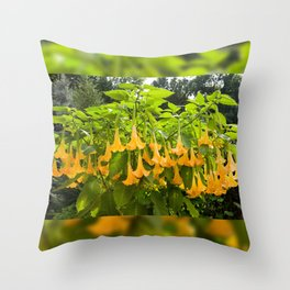 Yellow Brugmansia or Angels Trumpets Throw Pillow