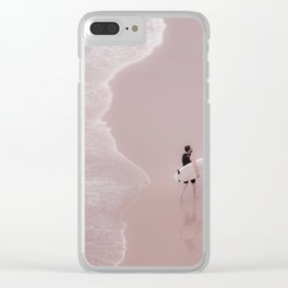 Surfer on pink beach, large print, surf photography, Beach Wall Art, Ocean Water Surfing, Beach Wave Clear iPhone Case