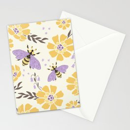 Honey Bees and Flowers - Yellow and Lavender Purple Stationery Cards