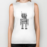 robot Biker Tanks featuring Robot by Alma Charry