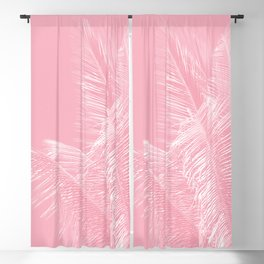 Millennial Pink illumination of Heart White Tropical Palm Hawaii Blackout Curtain
