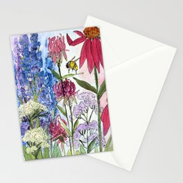 Watercolor Acrylic Cottage Garden Flowers Stationery Cards