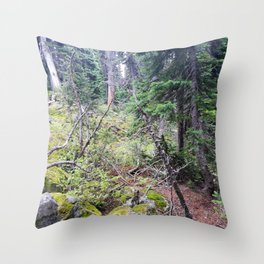 Sloped Canadian forest floor Throw Pillow