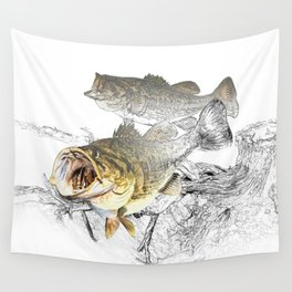 Largemouth Black Bass Fishing Art Wall Tapestry