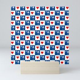flag of south carolina with hearts Mini Art Print