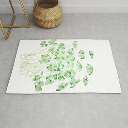 green clover leaf  watercolor arts 2021 Rug