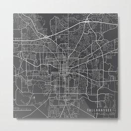 Tallahassee Map, USA - Gray Metal Print