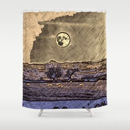 Moon over Debdale Shower Curtain