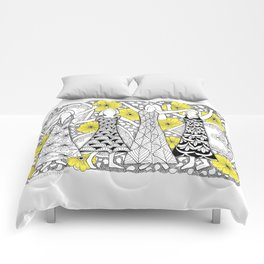 Zentangle Girls - Black and White Illustration Comforters