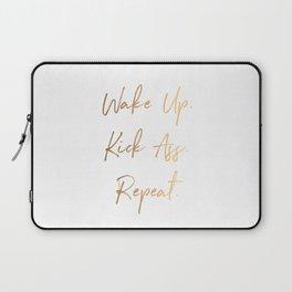 Wake up. Kick Ass. Repeat Laptop Sleeve