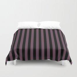 Eggplant Violet and Black Vertical Stripes Duvet Cover