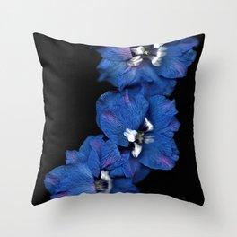 Purple Blue Delphinium Trio Throw Pillow