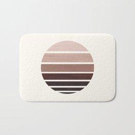 Raw Umber Mid Century Modern Minimalist Circle Round Photo Staggered Sunset Geometric Stripe Design Bath Mat
