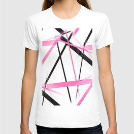 Criss Crossed Pink and Black Stripes on White T-shirt