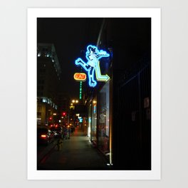 Neon Sign Roller Girl Los Angeles Art Print