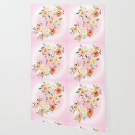 Rosy Watercolour Flower Bouquet Wallpaper