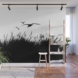 Seagulls Flying over Sand Dunes Wall Mural