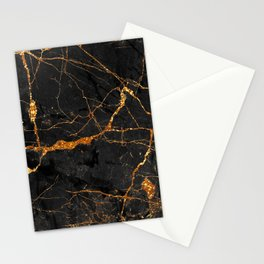 Black Malachite Marble With Gold Veins Stationery Cards