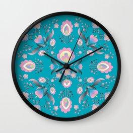 Dusty Blue Folk Flowers Wall Clock
