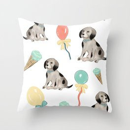 Puppies and ice cream Throw Pillow