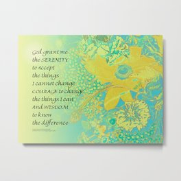 Serenity Prayer Yellow Turquoise Bouquet Metal Print