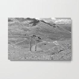 chairlift repair kaunertal alps tyrol austria europe black white Metal Print