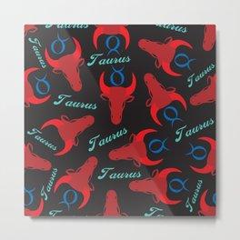 Bold Taurus Zodiac Pattern Metal Print