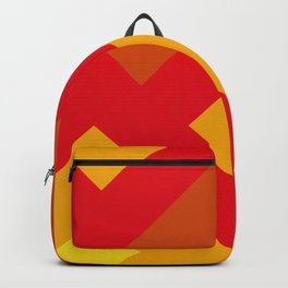 Concentric Squares in shades of Red and yellow and orange. Backpack