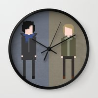 8 bit Wall Clocks featuring Sherlock 8-Bit by Raquel Segal