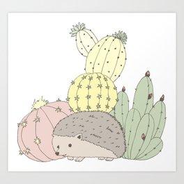 Prickly Little Friends Gathering Art Print