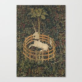 The Unicorn in Captivity (from the Unicorn Tapestries) Canvas Print
