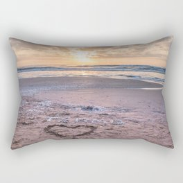 Love note Te Amo with the heart drawing on the beach at sunrise Rectangular Pillow