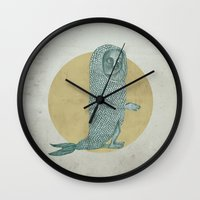 onesie Wall Clocks featuring Fish by BLEH collective