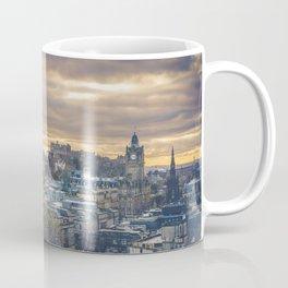 Edinburgh city and castle from Calton hill and Stewart monument Coffee Mug